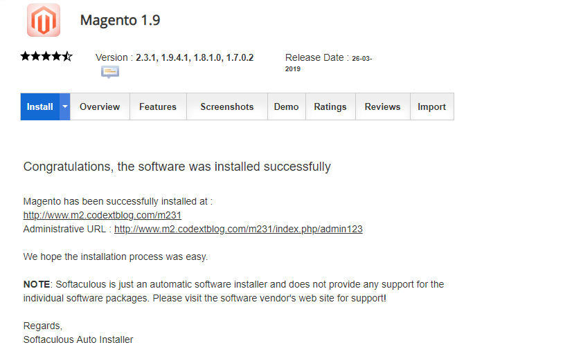Magento 2 Installation Success